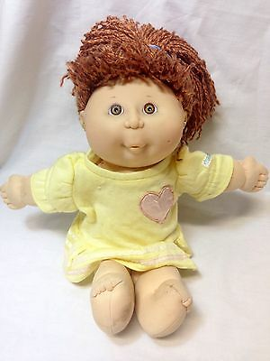 Vintage Cabbage Patch Kissin Kid Girl Doll 1991 Hasbro Red Hair w/Earrings Dress