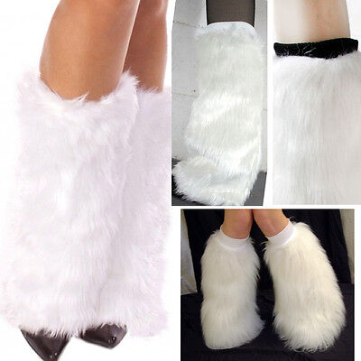 White Furry Fluffy Fuzzy Boot Cuff Leg Warmer Faux Fur Coachella Rave Fashion OS