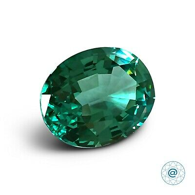 Aquamarine Mint #M24. Oval 10x8mm. 2.75 Ct. Created Gemstone Monosital. US@GEMS