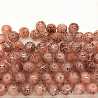 DIY 30 Pcs 8mm Loose Beads Round Spacer Double Colors Glass Jewelry making #25