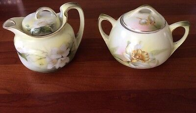 Antique Porcelain Cream and Sugar by R S in Germany