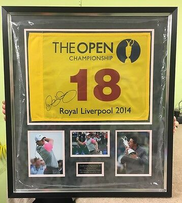 Signed Rory Mcilroy Open 2014 Pin Flag Framed With Proof & Coa *rare*