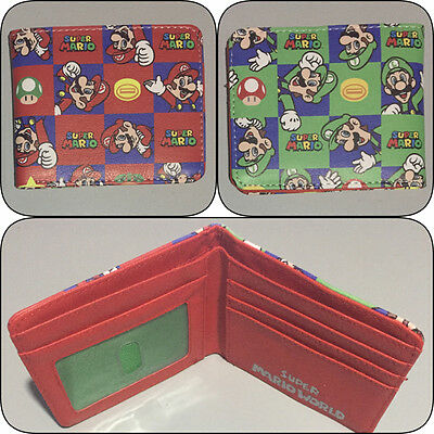 Super Mario Bros Bi-fold Wallet Mens Boys Photo ID Slot Bifold World Brothers