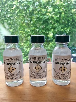 3 Bottles of 100% Pure Gum Spirits of Turpentine by Diamond G Forest