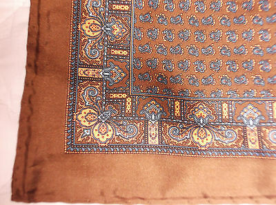 Hand Made Brown Paisley Patterned Silk Square With Rolled Edges,