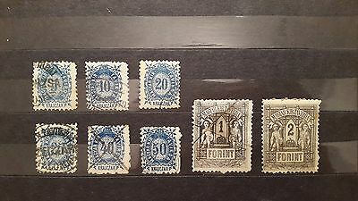 1873 Hungary Lithography Telegraph stamps full set Mi 1-8 used litho ancient