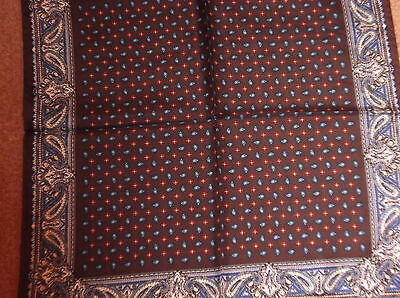 Hand Made Brown With Navy Paisley Patterned Silk Square With Rolled Edges,