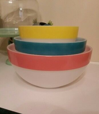 Fire King Colonial Band Mixing Bowls Complete Set
