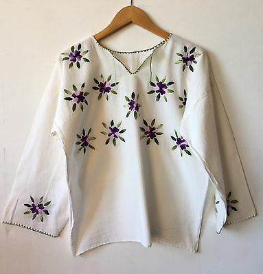 Mexican Embroidered White Blouse Oaxaca Boho Hippie Mayan Huipil