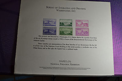 "1950""s  6 Stamps&vignettes Of 3 Branches Govt, Real Stamps&vignettes Nm Lg Card"