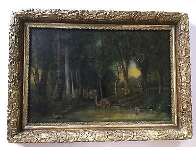 Antique Folk Art Oil/Canvas Painting Woman And Cows