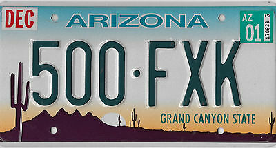 2001 Arizona Grand Canyon Cactus Embossed License Plate # 500 Fxk Nice Condition