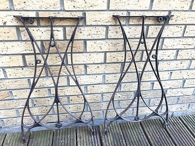 Vintage Cast Iron Ornate Industrial Metal Machine Table legs - Pair - steam punk