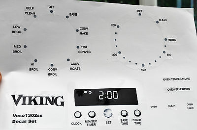 Viking Veso1302  oven, cooker panel, decal, stickers.