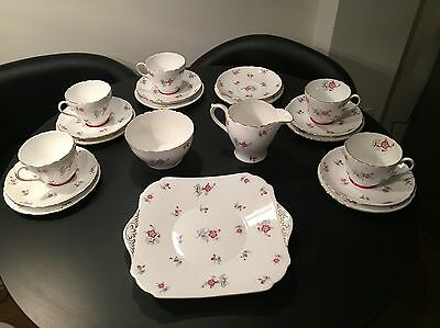 Shelley Charm Bone China Tea Service 6 tea cups, saucers, plates, cake plate etc