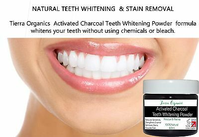 Coconut Activated Charcoal Teeth Whitening Powder 100% Natural Made in UK 60ML