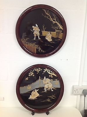 PAIR OF QUALITY JAPANESE SHIBAYAMA FRAMED CIRCULAR PLAQUES c Early 20th Century
