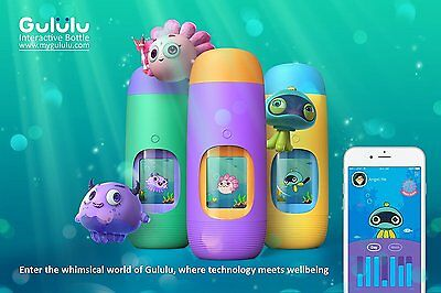 Blue, Gululu The Interactive Water Bottle & Health Tracker For Kids, plus App