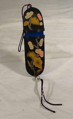 Antique Vintage Chinese Finely Embroidered Eye Glass Case Pipe Case Silk