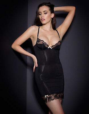 Agent Provocateur JOSELINE SLIP in BLACK STRETCH SATIN - 32C - BNWT RRP: £280.00