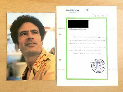Original Autogramm Moammar Al Gaddafi mit Brief - Authentic Signed Autograph