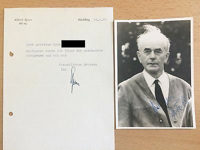 Original Autogramm Albert Speer mit Brief - Authentic Signed Autograph Germany