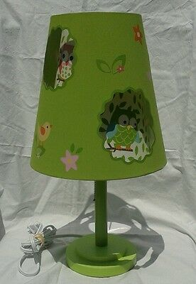 Circo Love N Nature Table Lamp Double-Cut Shade Owl Nursery Kids Room Lime Green