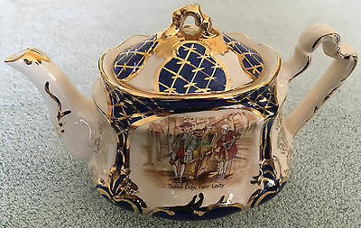 Rare vintage Arthur Wood cobalt & gold teapot, fun depictions of colonial scenes