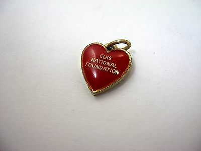 Vintage Keychain Charm: Elks National Foundation Heart Design