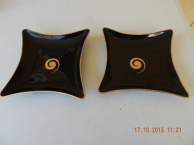 Vintage Lenox Black & Gold Spiral Candy Tray/Dish #3467-X-527 ~ Lot of 2