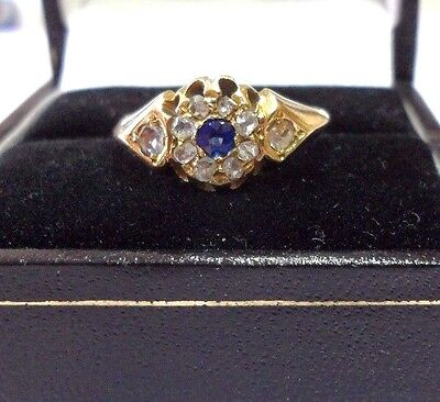 Vintage Art Deco 18ct Gold Diamond and Sapphire Blue gemstone  Size J   US 4 3/4