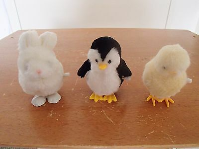 3x vintage IWAYA windup hopping toys chick pinguin rabbit bunny mechanical retro
