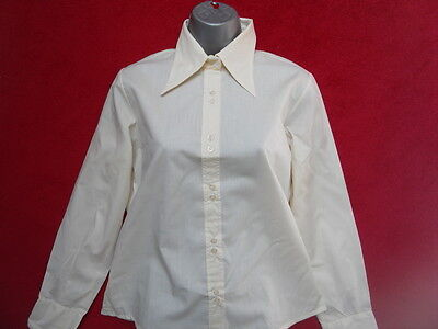 VINTAGE LIGHT PEAKED COLLARED 1970s BLOUSE / SHIRT
