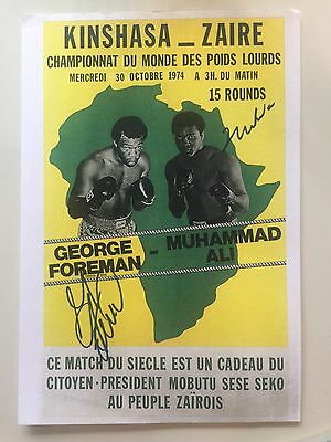 Autographed Muhammad Ali and George Foreman Fight Poster Print Both Autographs