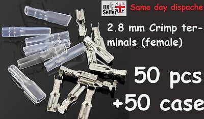 50 set 2.8mm Crimp Terminal Insulated Female Motorcycle Spade Connector + Case