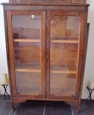 Vintage 1940's oak small glazed book case