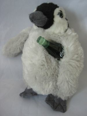Coca Cola Penguin Gray Black Green Bottle Plush Stuffed Animal Lovey Soft  EC