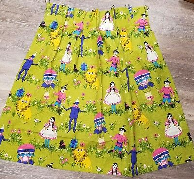 Rare Vintage Wizard of OZ Curtains OH MY! Gorgeous New Never Used Retro GORGEOUS