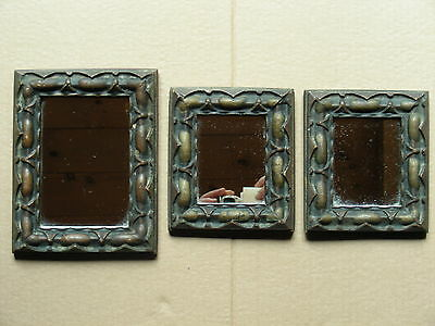 (Set Of 3) Vintage Wall Mirrors In Rustic Wood Frames