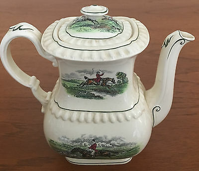 Old Copeland Spode small HERRING HUNT tower style tea/coffee pot with crazing