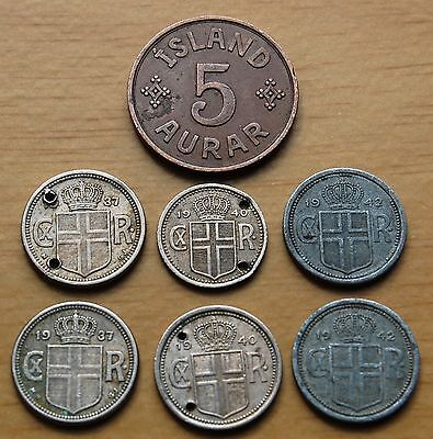 Collection Of 7 Iceland Coins Dated 1937-42 Incl 5 x 25 Aurar 1 x 10 & 5 Aurar