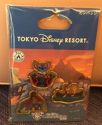 Tokyo Disney Celebration Hotel 2017 3 Pin Set Stitch Pirates Chip & Dale Japan