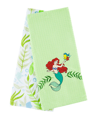 Disney Ariel The Little Mermiad Tea Towels, A Set Of 2 Tea Towels, Usa Import