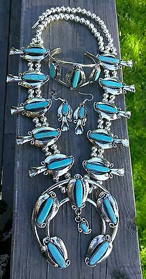 LARGE Southwestern Silver Turquoise Squash Blossom Necklace Bracelet & Earrings