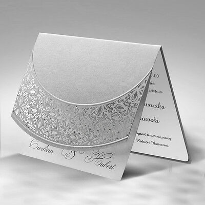 Personalised Laser Cut Wedding Day or Evening Invitations Silver Dots Free P*P