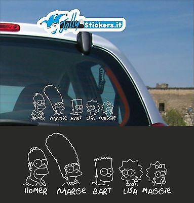 Adesivo sticker tuning famiglia a bordo Simpson family on board car ob010