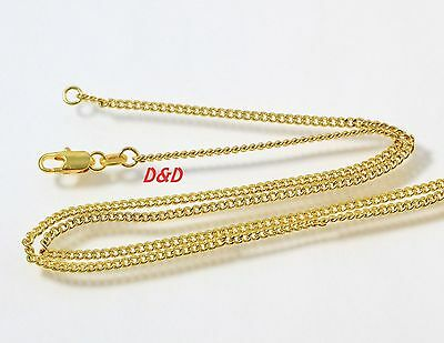 2mm High quality Unisex Real 18K Gold Filled Curb Link Chain Necklace 24 inches
