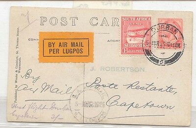 South Africa 1925 First Flight CapeTown Durban Pretoria on postcard Scarce (1er