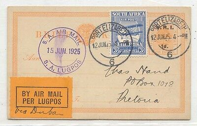 South Africa 1925 First Flight Oudtshoorn east London Scarce (1er vol)