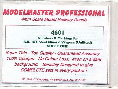 Modelmaster Decals 4601 BR Steel Mineral Wagons (Unfitted) 4mm scale